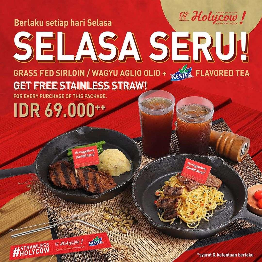Steak Hotel by HOLYCOW! Promo SELASA SERU! Harga Spesial Grass Fed Sirloin atau Pasta Wagyu Aglio Ol