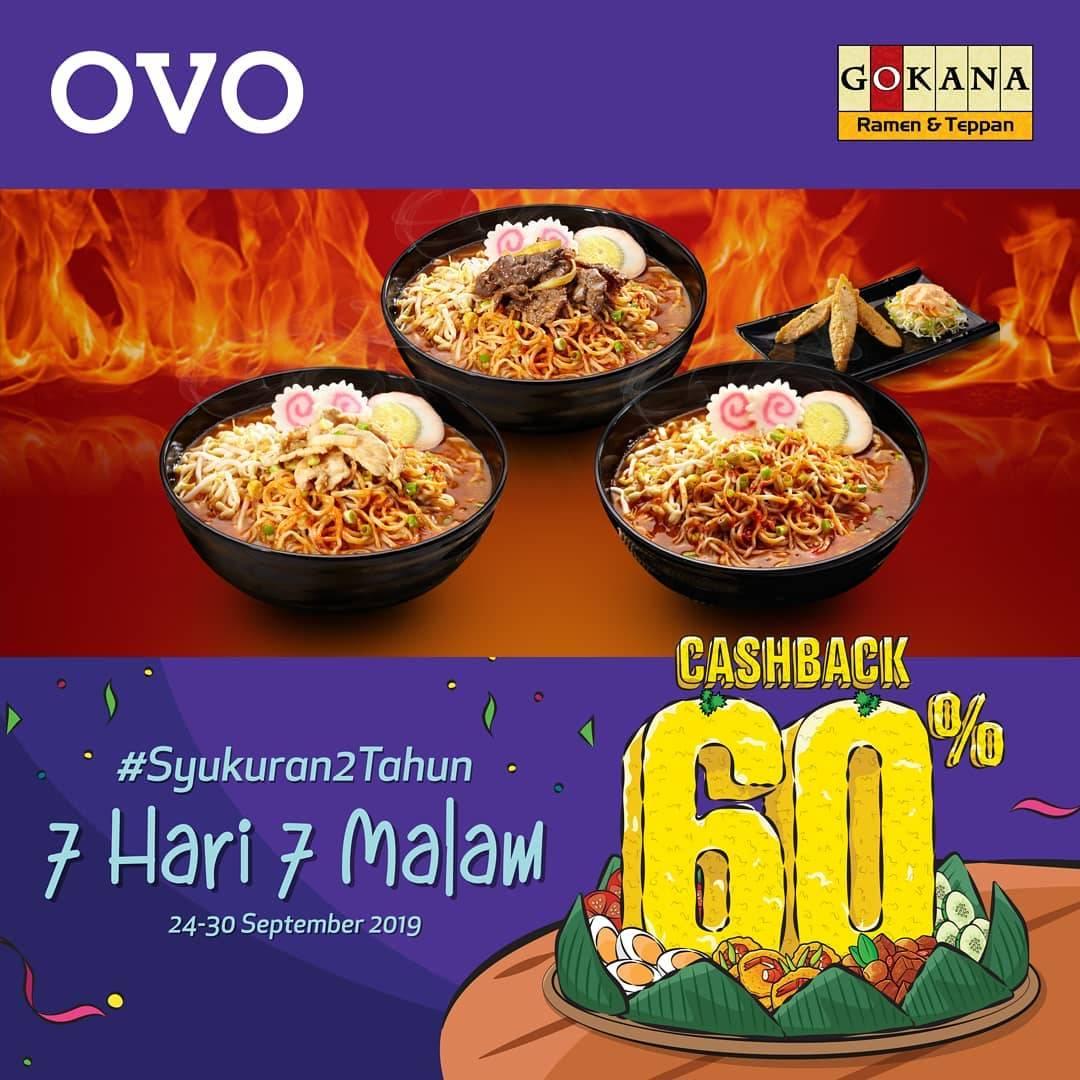 GOKANA Promo Syukuran 2 Tahun OVO Dapatkan CASHBACK 60% untuk transaksi dengan OVO