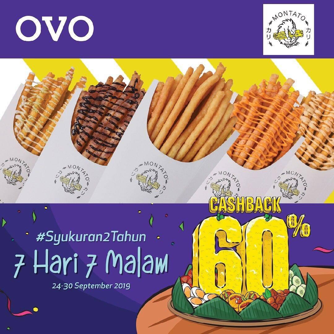 Diskon MONTATO Promo Syukuran 2 Tahun OVO! CASHBACK 60% untuk transaksi dengan OVO