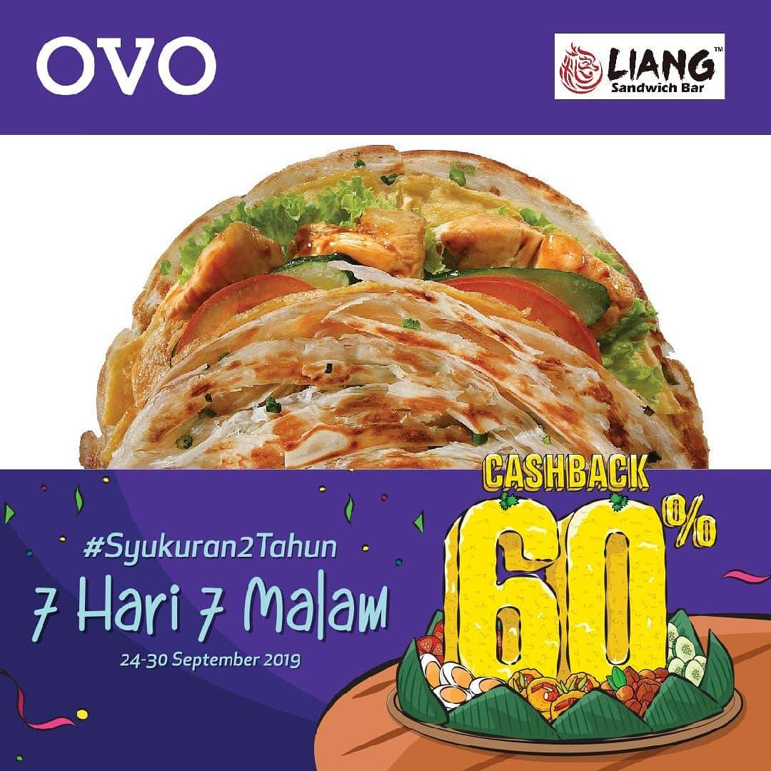 Diskon LIANG SANDWICH BAR Promo Syukuran 2 Tahun OVO! CASHBACK 60% untuk transaksi dengan OVO