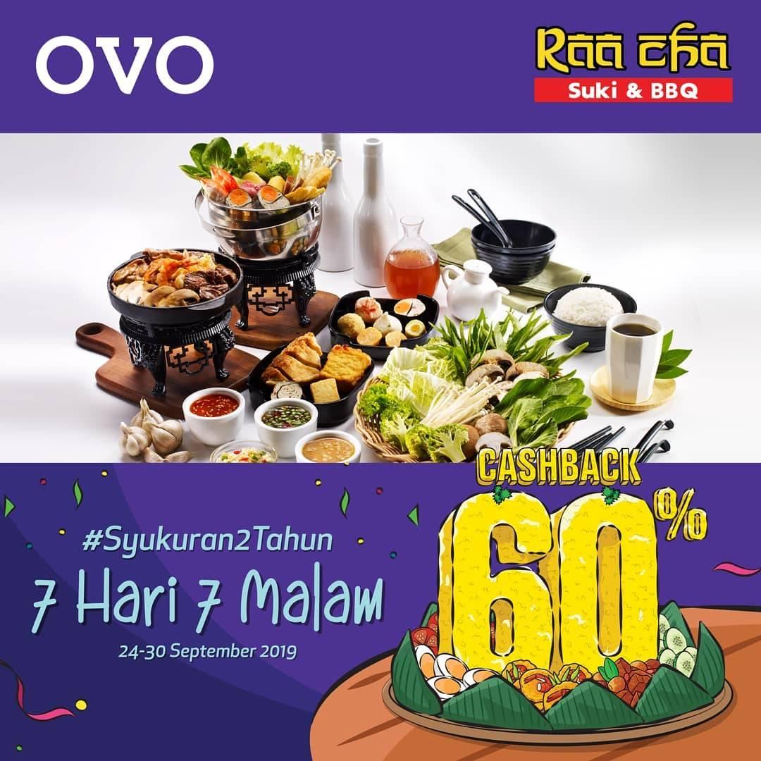 RAACHA SUKI Promo Syukuran 2 Tahun OVO! CASHBACK 60% untuk transaksi dengan OVO