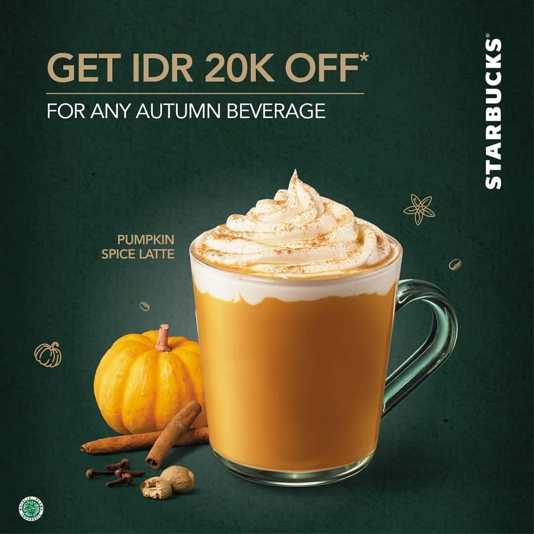 Diskon STARBUCKS Promo DISKON Rp. 20.000 untuk Minuman Autumn Pumpkin Spice Latte