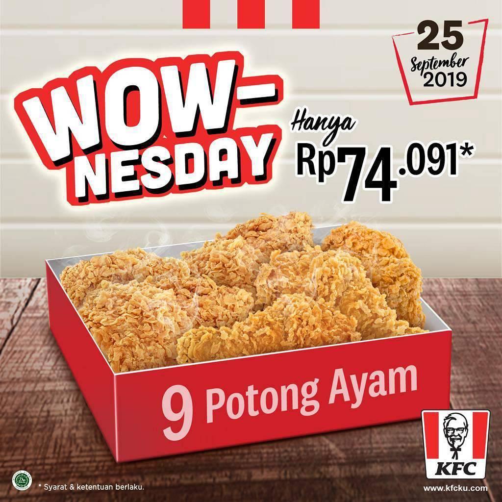 KFC Promo Paket Wownesday! Paket 9 Potong Ayam cuma Rp. 74.091