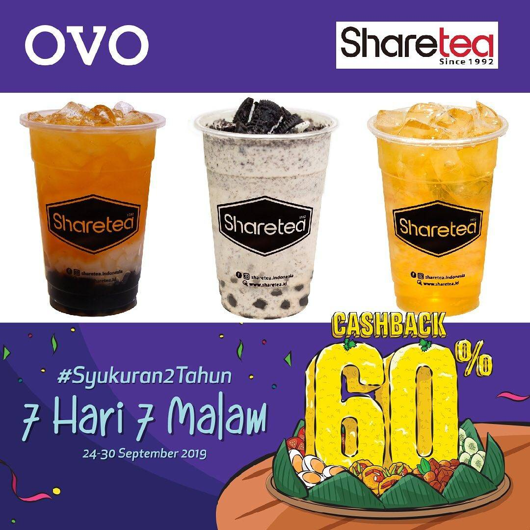 Diskon SHARETEA Promo Syukuran 2 Tahun OVO! CASHBACK 60% untuk transaksi dengan OVO