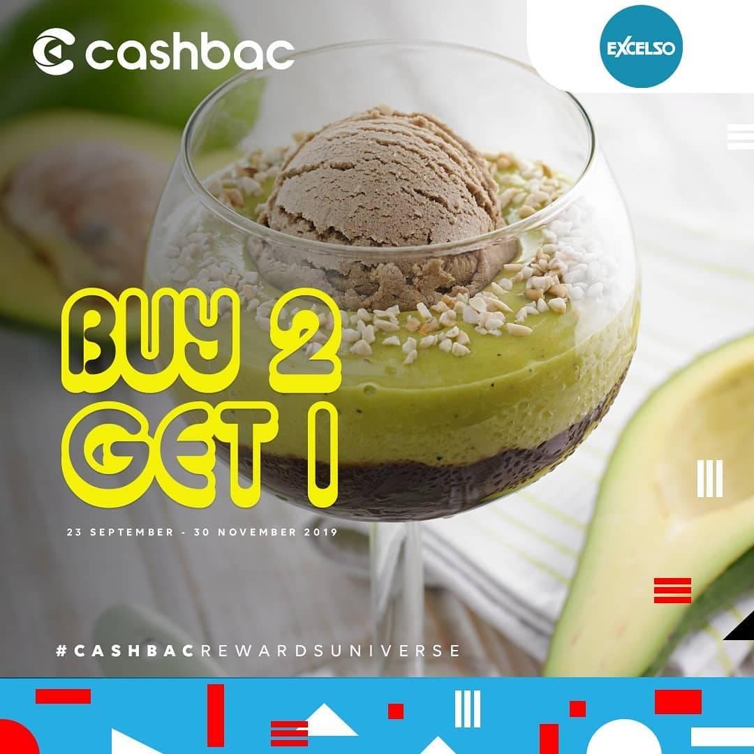 EXCELSO Promo Buy 2 Get 1 untuk transaksi dengan Cashbac App