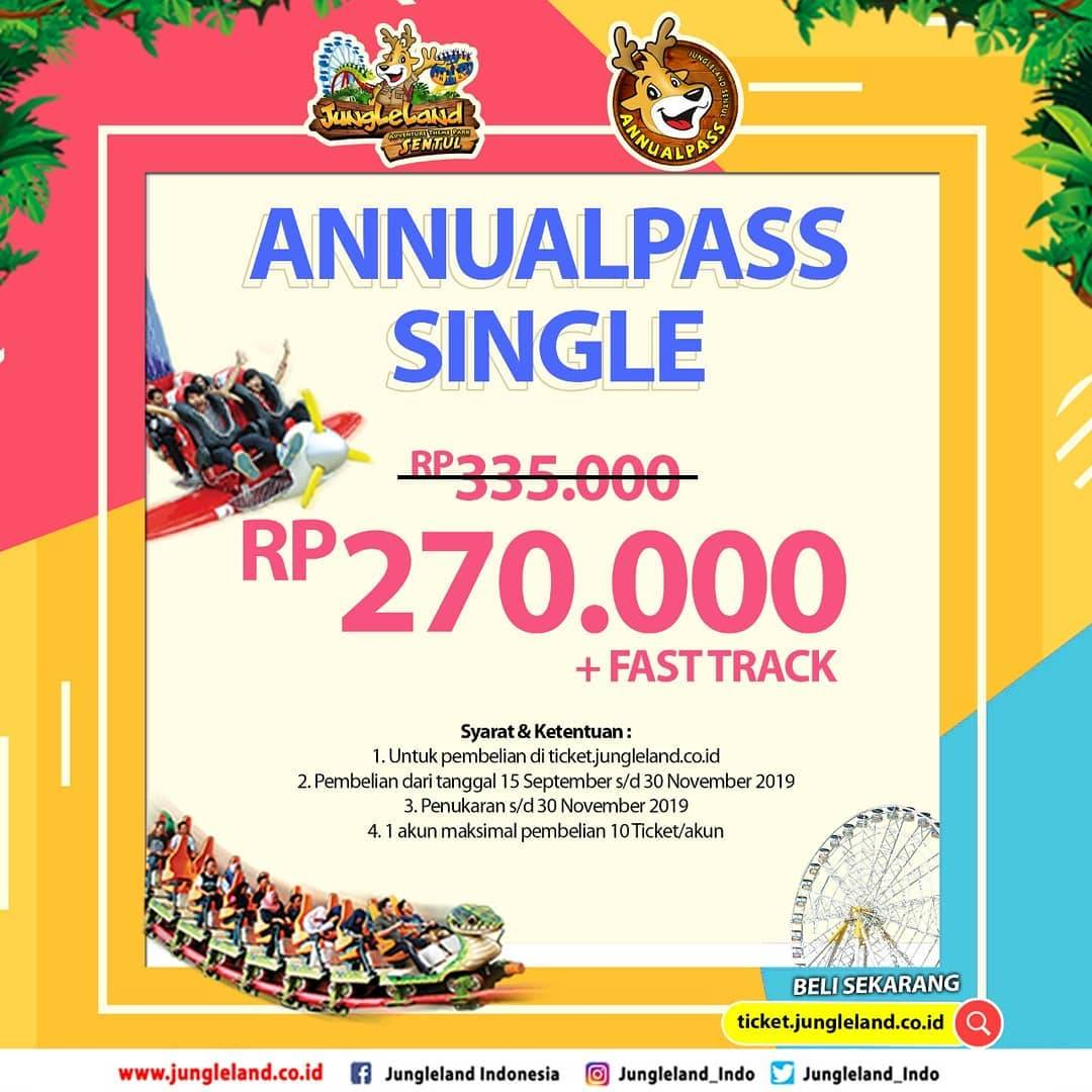 JUNGLELAND Promo Annual Pass Single Rp. 270.000 + Fast Track