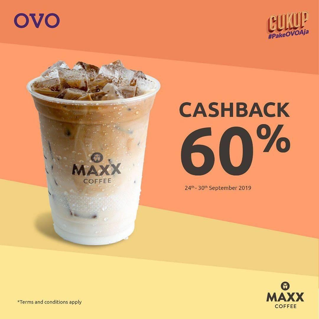 MAXX COFFEE Promo Syukuran 2 Tahun OVO! CASHBACK 60% untuk transaksi dengan OVO