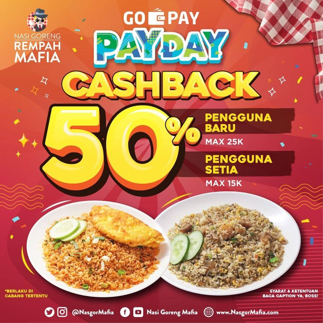 Diskon NASI GORENG MAFIA Promo GOPAY PAYDAY! CASHBACK Up to 50% untuk transaksi dengan GOPAY