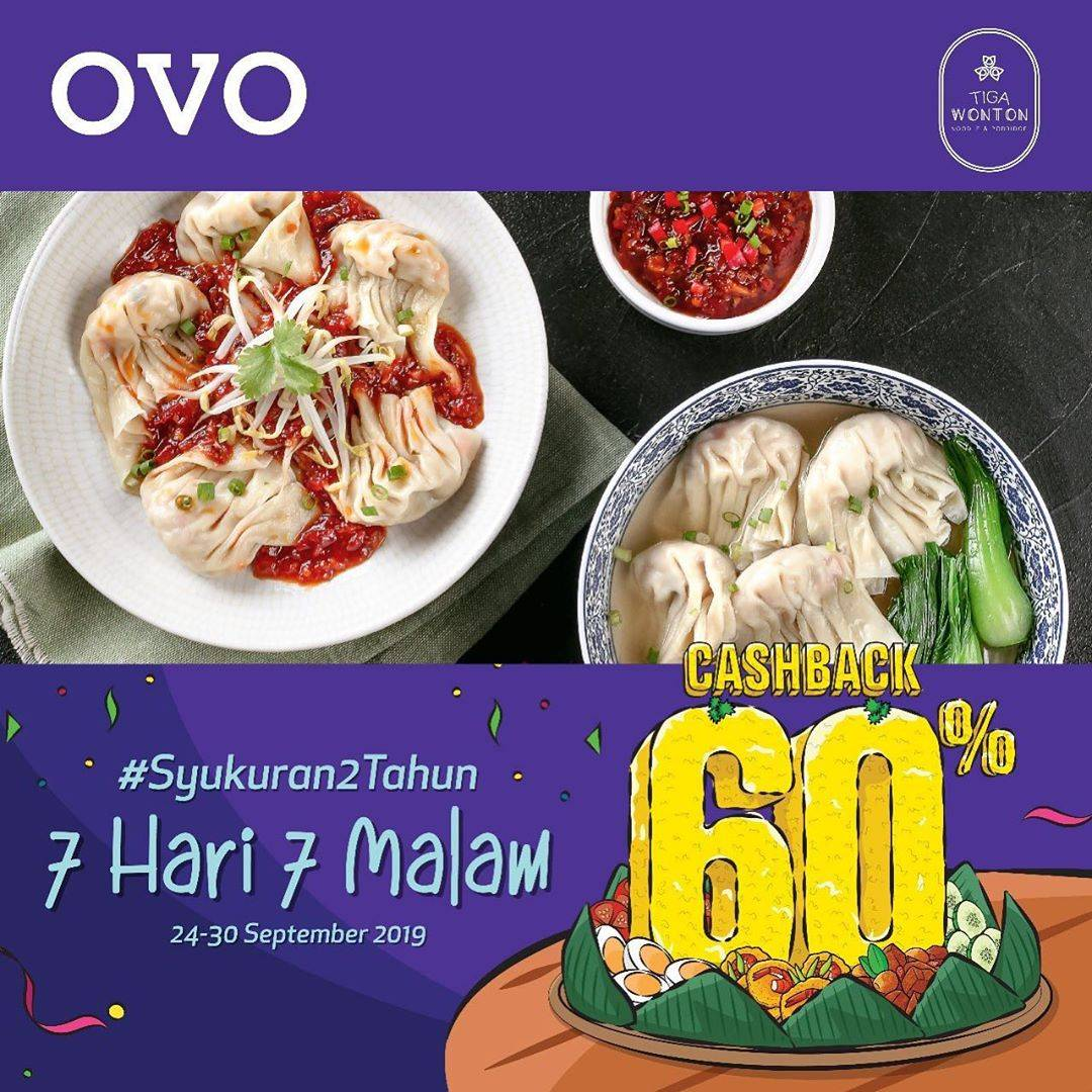 Diskon TIGA WONTON Promo OVO PAYDAY! CASHBACK 60% untuk transakai dengan OVO