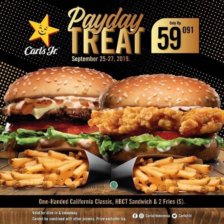 Diskon CARLS JR Promo Payday Treat! Paket 2 Burger* dan 2 Fries Harga Spesial Hanya Rp. 59.091
