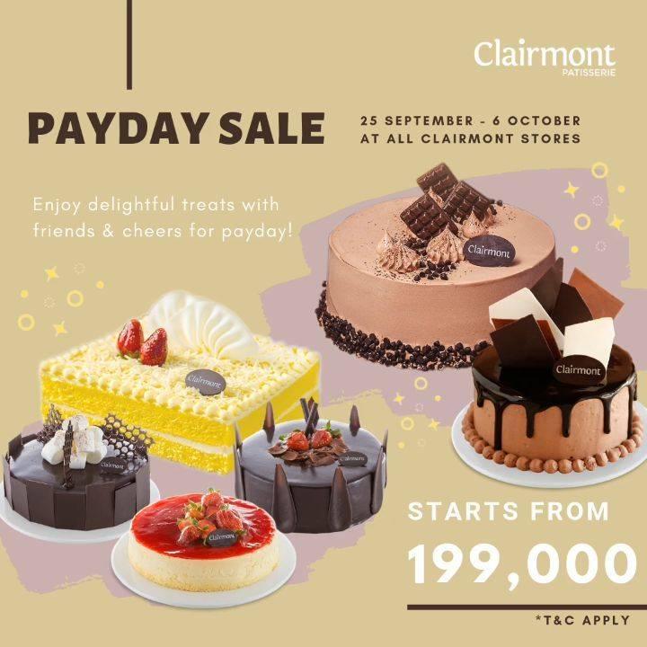 Diskon CLAIRMONT Promo PAYDAY Dapatkan Harga Spesial Cake Favorit Pilihan mulai Rp. 199.000