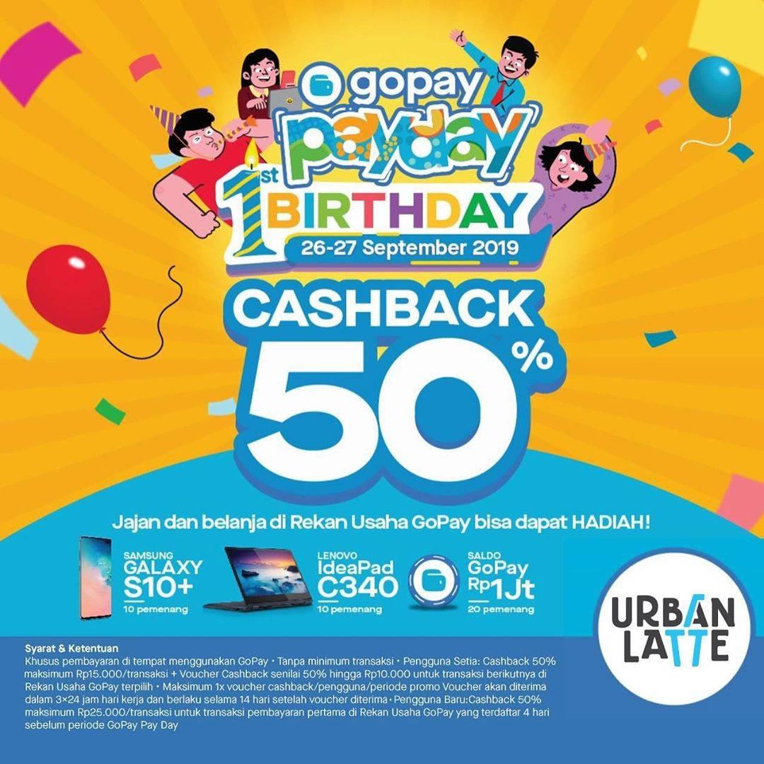 Diskon URBAN LATTE Promo GOPAY PAYDAY! Cashback Hingga 50% Untuk Transaksi Dengan GOPAY