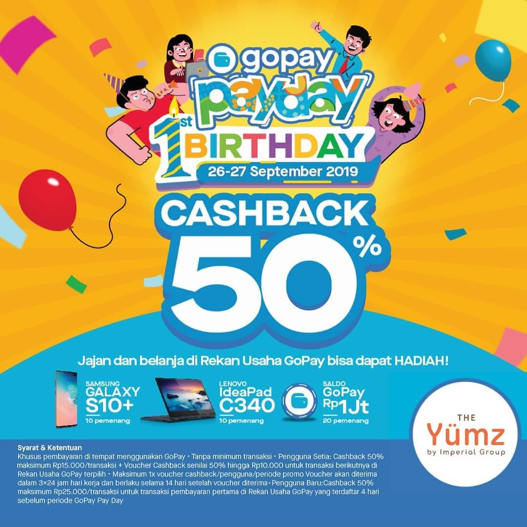 Diskon THE YUMZ Promo GOPAY PAYDAY! CASHBACK 50% untuk transaksi dengan GO-PAY