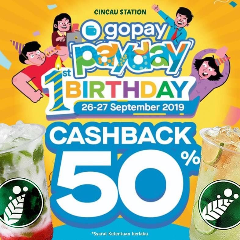 Diskon CINCAU STATION Promo GOPAY PAYDAY! Cashback hingga 50% untuk transaksi dengan GOPAY