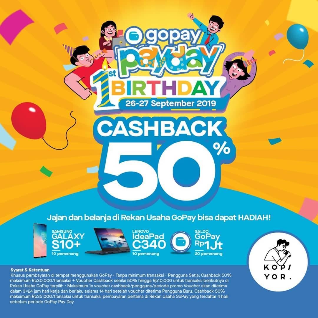 Diskon KOPI YOR Promo GOPAY PAYDAY! CASHBACK 50% untuk transaksi dengan GOPAY