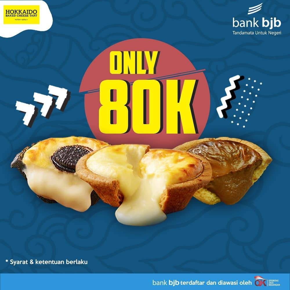 Hokkaido Baked Cheese Tart only 80.000/Box with Bank BJB Debit/Credit Card