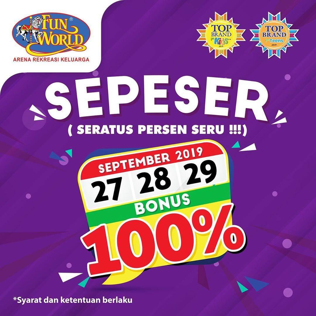 FUNWORLD Promo SEPESER (Seratus Persen SERU)! Dapatkan Bonus Saldo hingga 100%