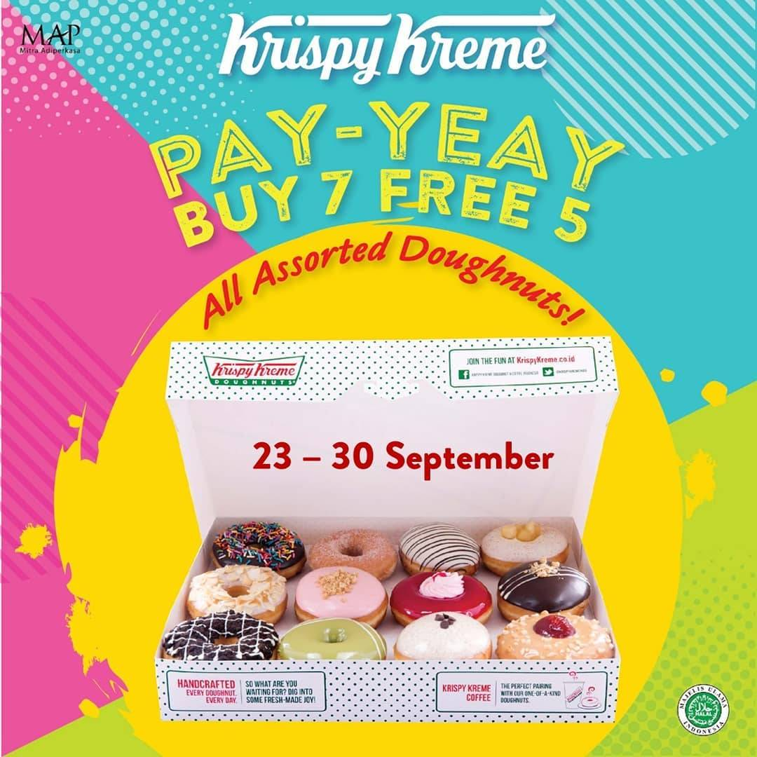 Diskon KRISPY KREME Promo PAY-YEAY Buy 7 Free 5 All Assorted Doughnuts
