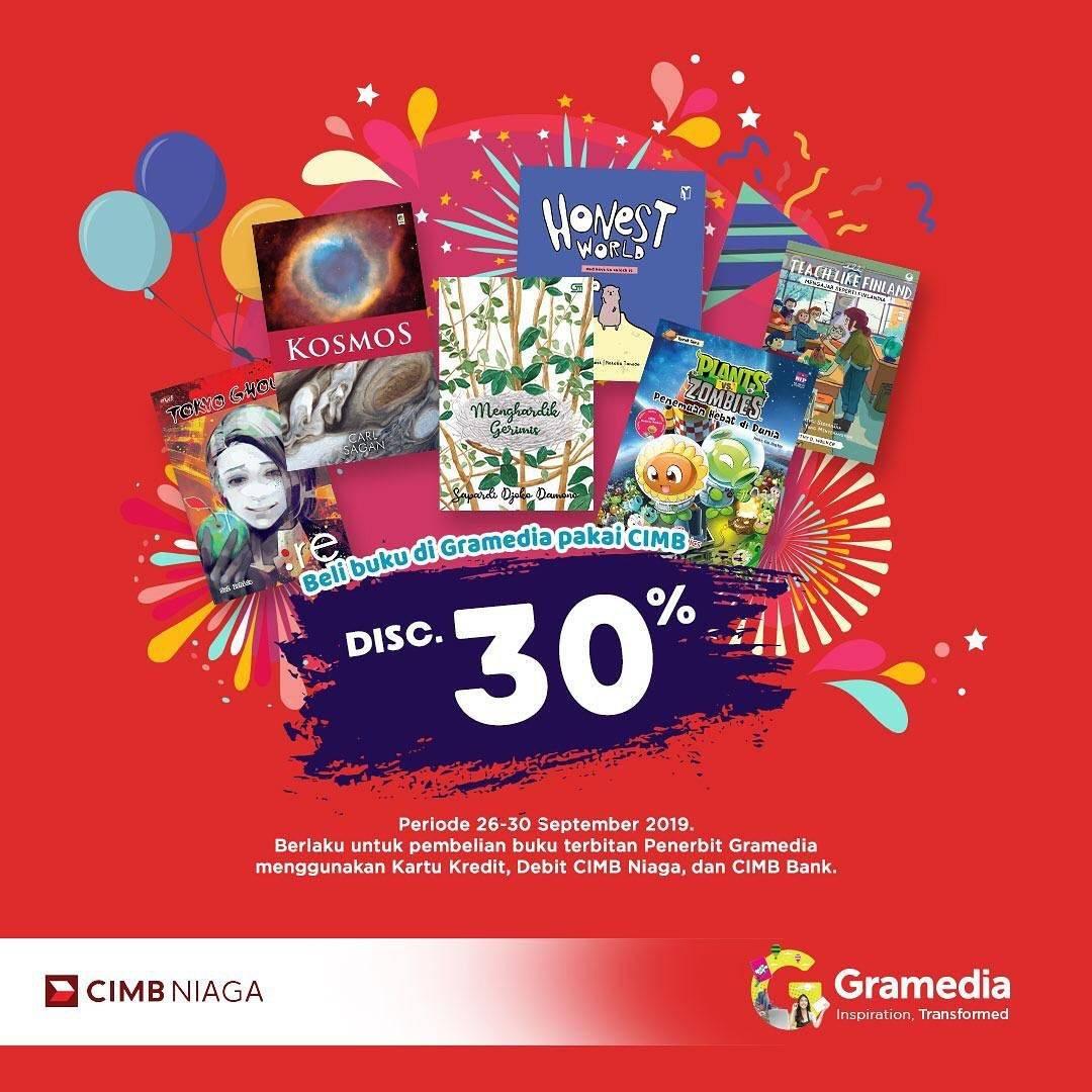 GRAMEDIA Promo DISKON 30% untuk SEMUA BUKU TERBITAN GRAMEDIA dengan Kartu CIMB Niaga