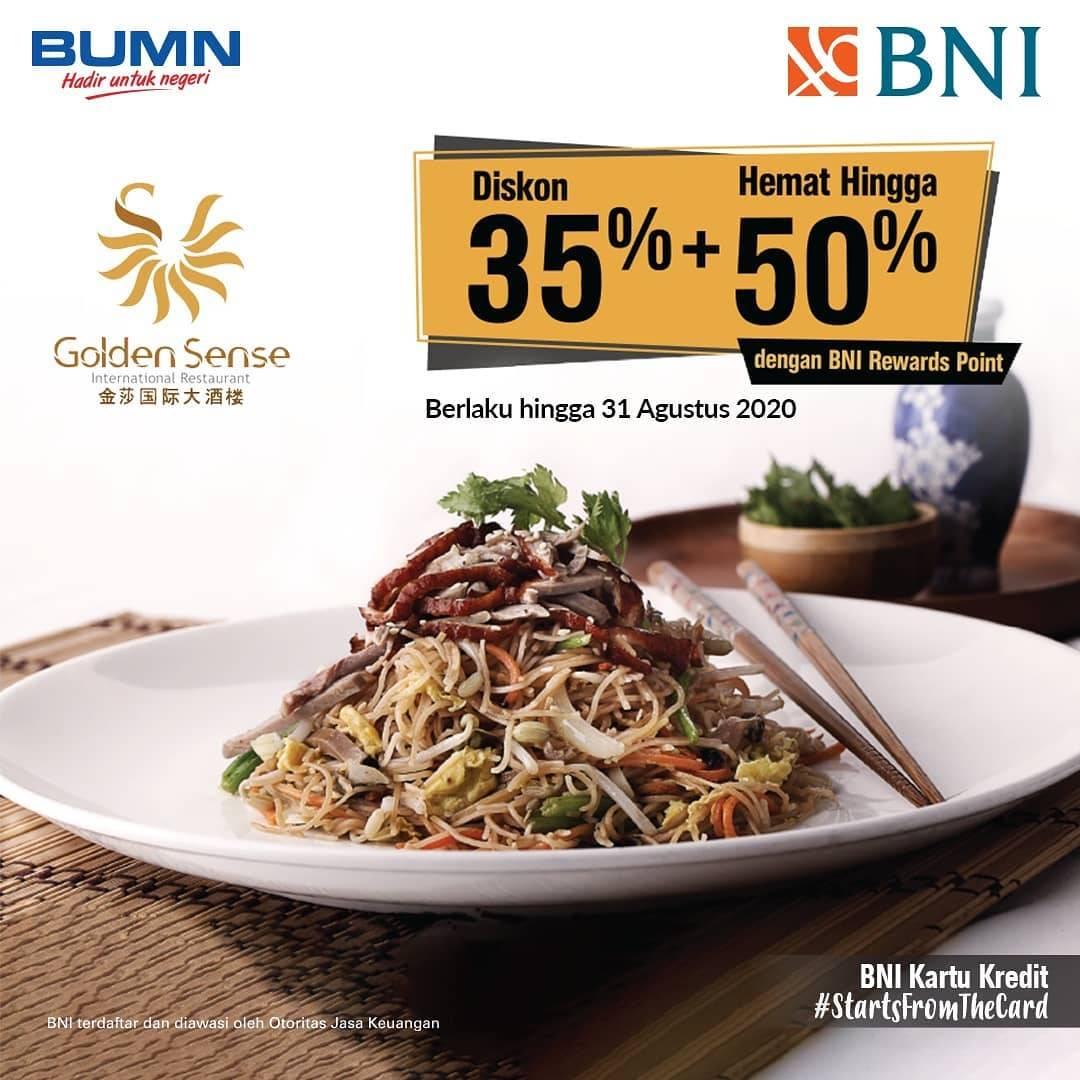 Golden Sense International Restaurant Promo Diskon 35% dengan Kartu Kredit BNI + Hemat hingga 50% de