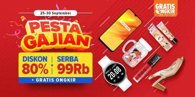 LAZADA.CO.ID Promo PESTA GAJIAN! Diskon hingga 80% + Serba 99Ribu + Gratis Ongkir!