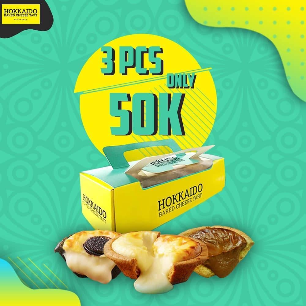Diskon HOKKAIDO BAKED CHEESE TART Promo BELI 3 PCS cuma Rp. 50.000