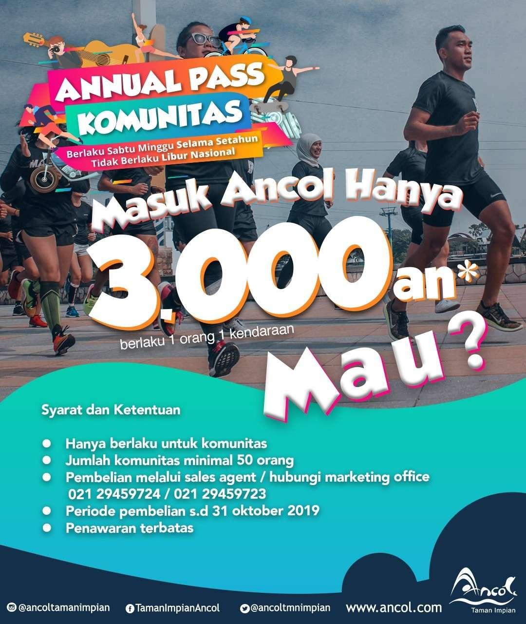 ANCOL TAMAN IMPIAN Promo Annual Pass Komunitas, Hanya mulai Rp. 3.000 per orang