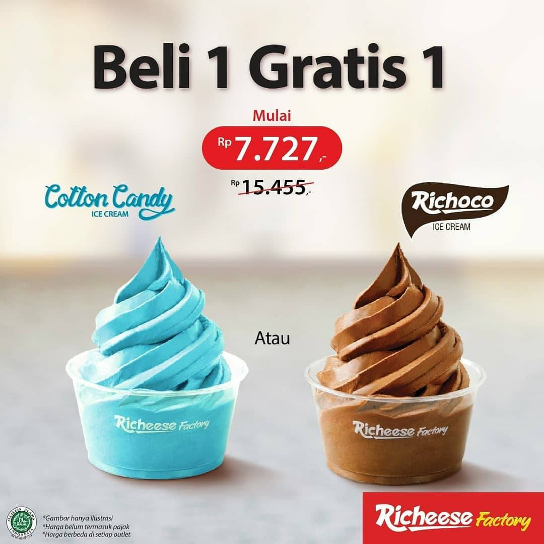 Diskon Richeese Factory Buy 1 Get 1 Free Ice Cream Cup