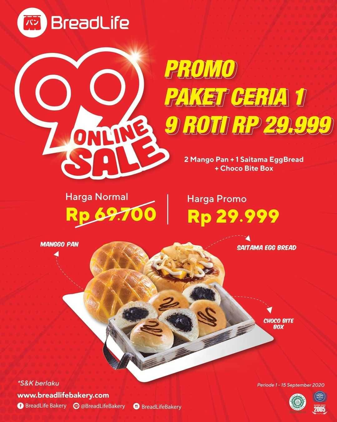 Promo diskon Breadlife 99 Online Sale - Promo Paket Ceria