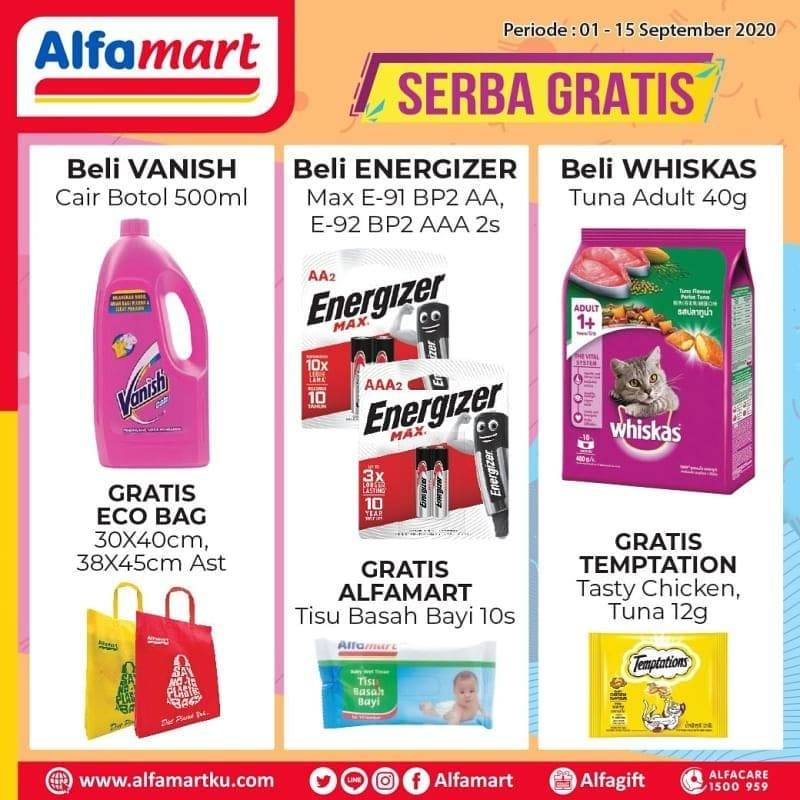 Diskon Katalog Promo Alfamart Serba Gratis Periode 1 - 15 September 2020