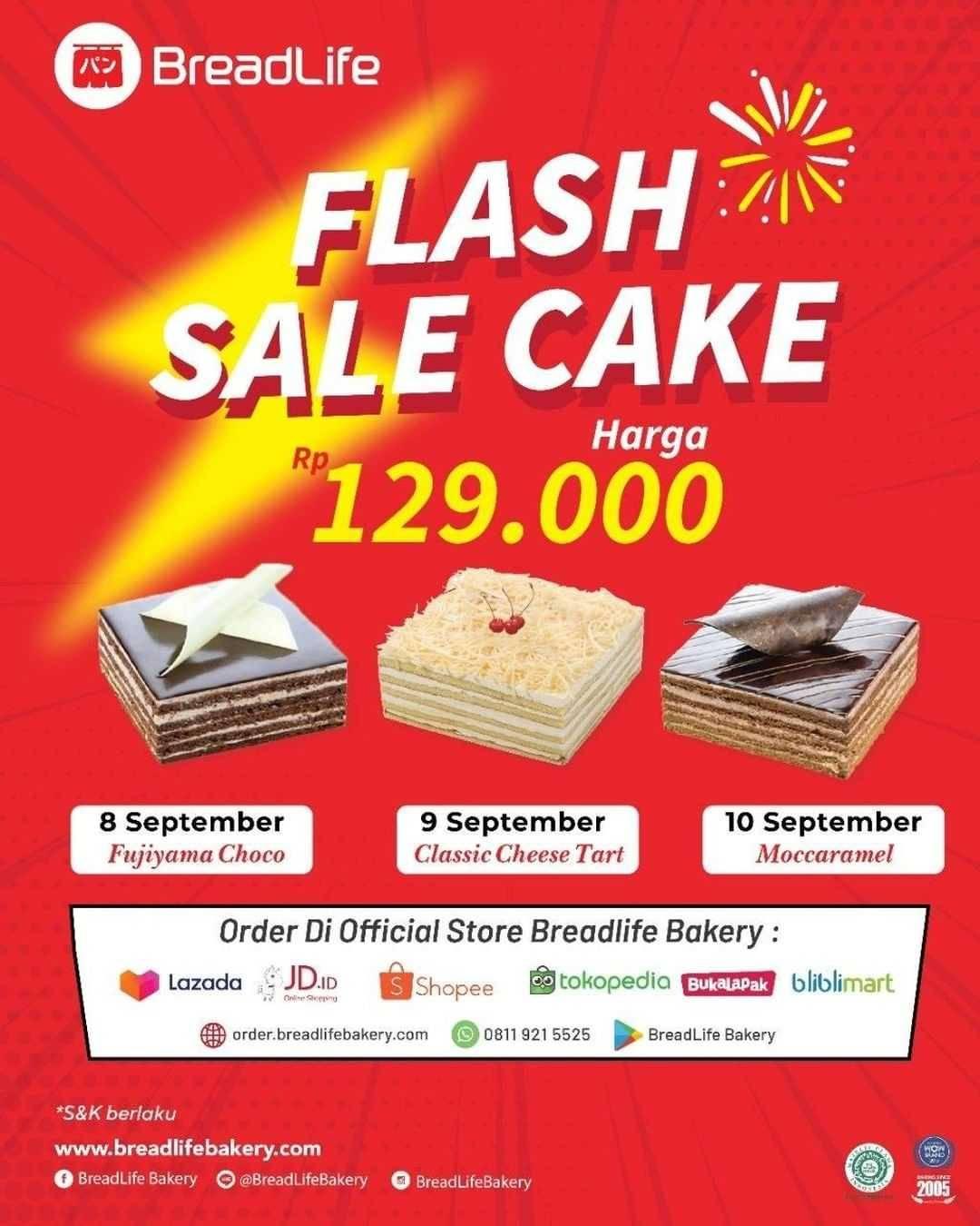Promo diskon Breadlife Flash Sale Cake Hanya Rp. 129.000