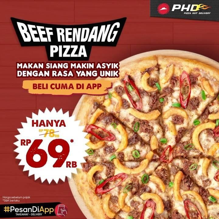 Diskon PHD Beef Rendang Pizza Cuma Rp. 69.000 Untuk Pembelian Melalui Aplikasi