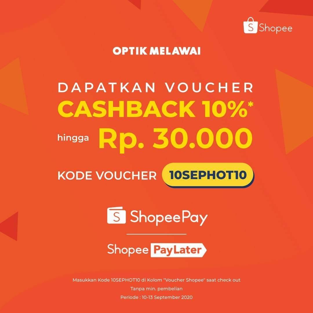 Diskon Optik Melawai Voucher Cashback 10% Shopeepay
