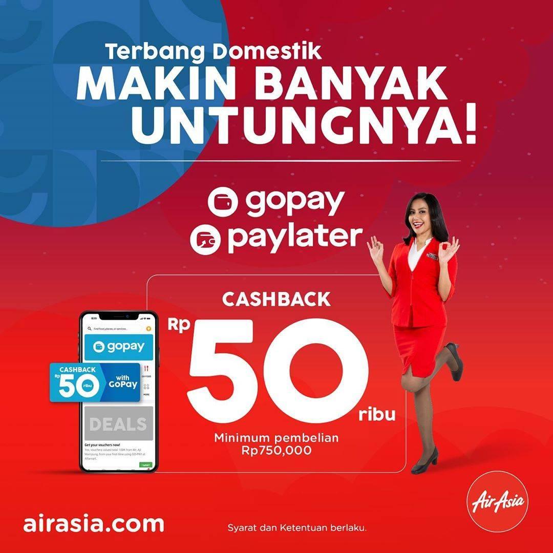 Diskon Air Asia Promo Terbang Domestik Cashback Rp. 50.000 Dengan Gopay