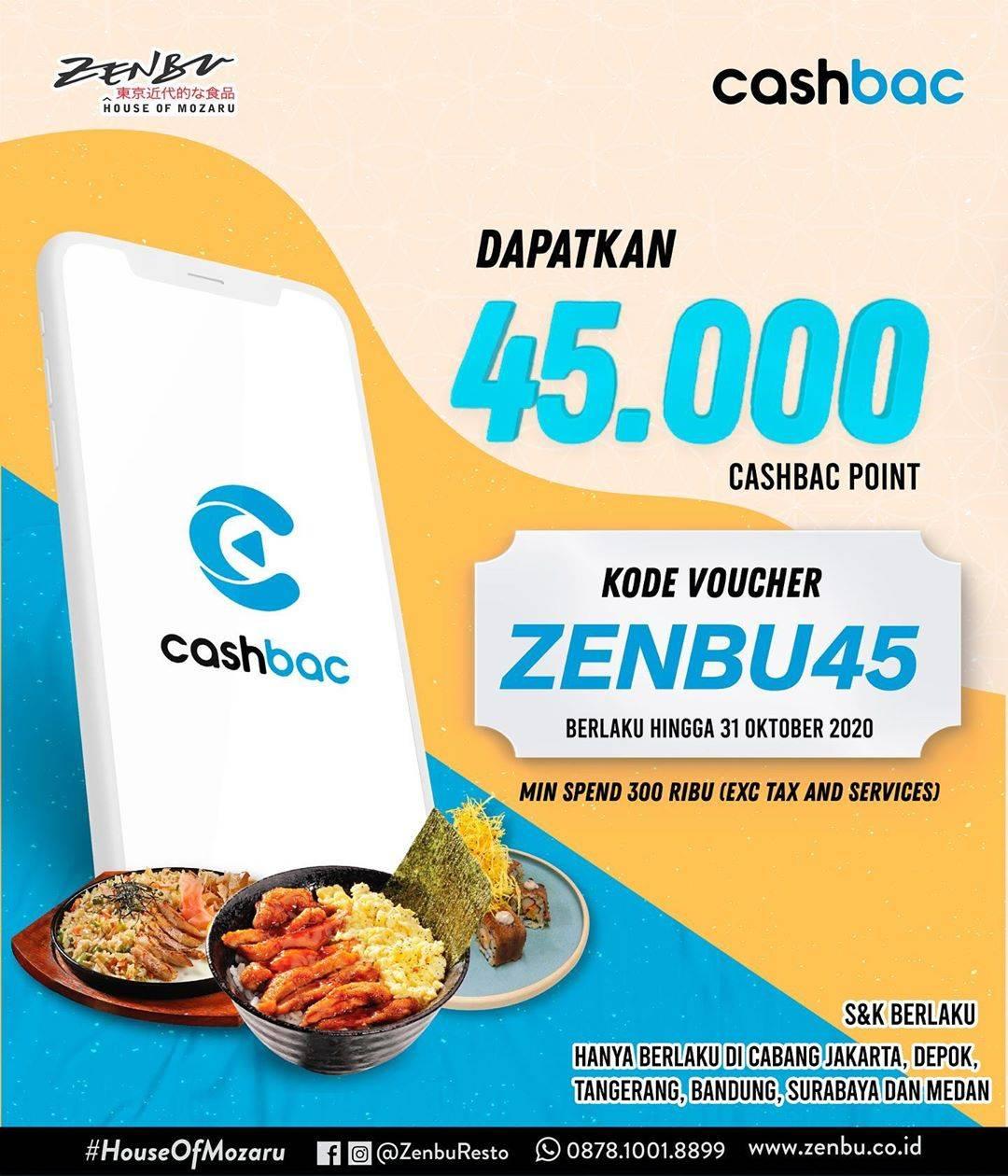 Diskon Zenbu Cashback Rp. 45.000 Dengan Cashbac
