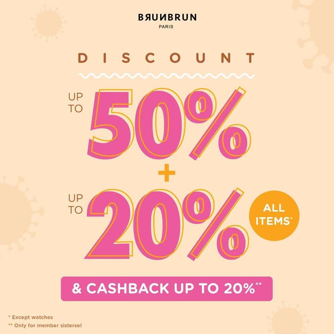 Diskon Brun Brun Discount Up To 50% + 20% + Cashback Up To 20%