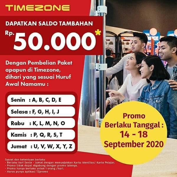 Diskon Timezone Promo Saldo Tambahan Sesuai Initial