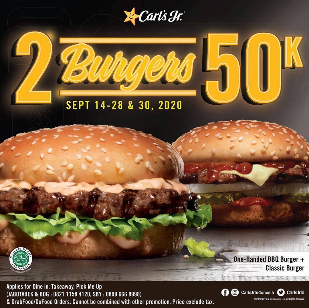Diskon Carls Jr Promo 2 Burgers 50K