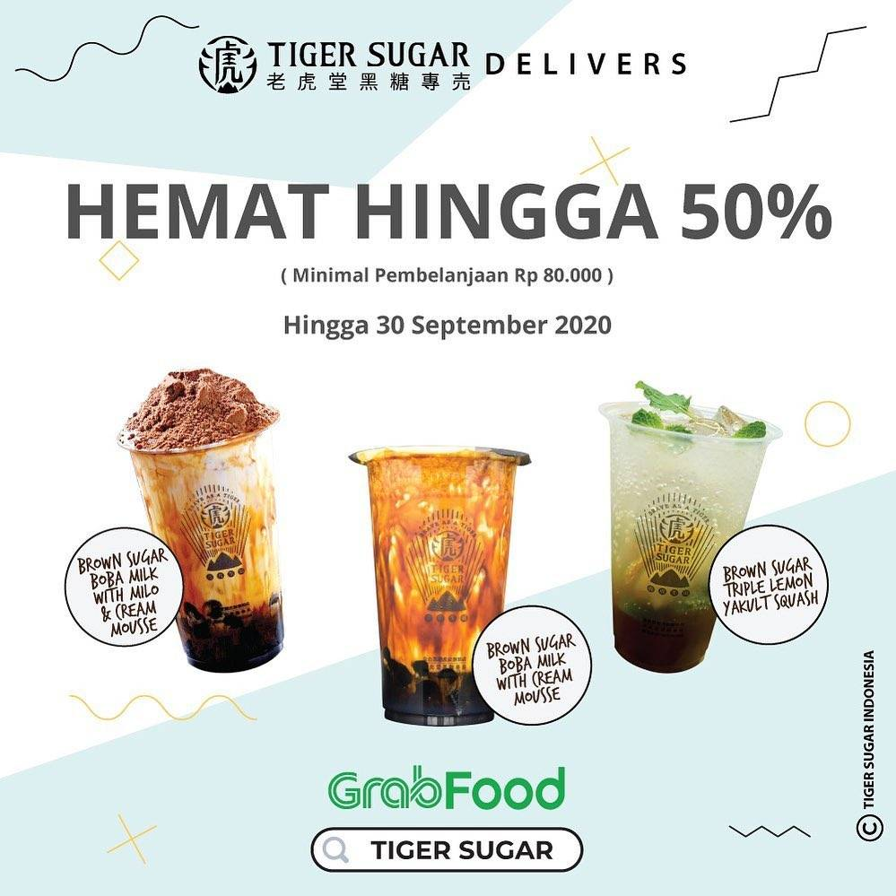 Diskon Tiger Sugar Delivers Diskon 50% Di GrabFood