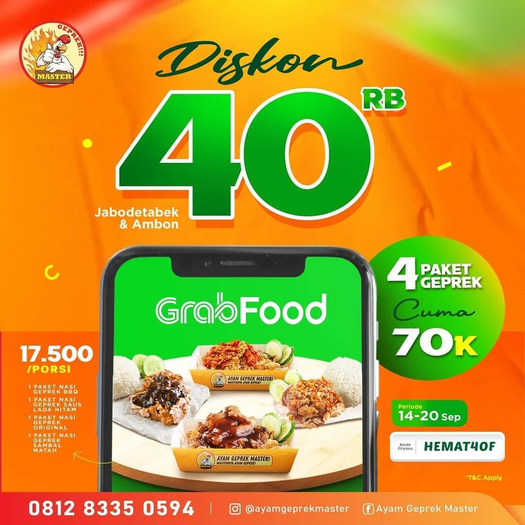 Diskon Ayam Geprek Master Diskon Hingga Rp. 40.000 Di GrabFood