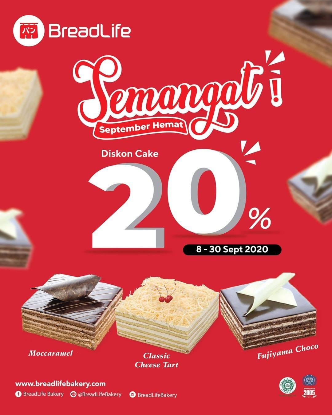 Diskon Breadlife Promo Semangat September Hemat Diskon Cake 20%