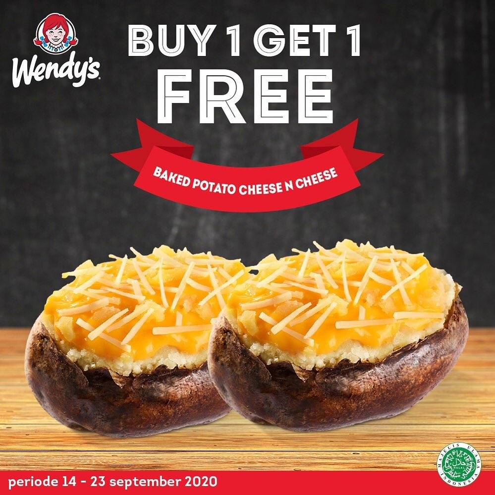 Diskon Wendy's Buy 1 Get 1 Free Baked Potato Cheese N' Cheese