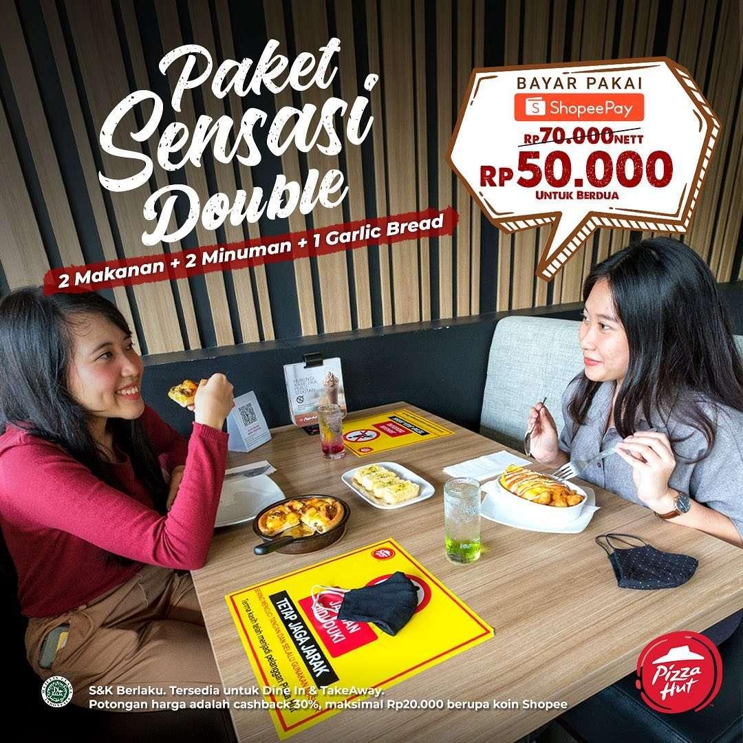 Diskon Pizza hut Promo Paket Sensasi Double hanya Rp.50.000 dengan ShopeePay