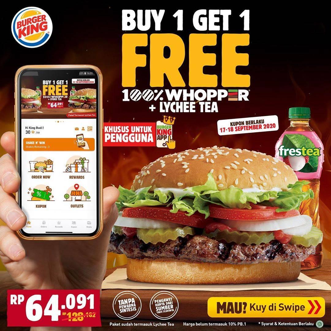 Burger King Buy 1 Get 1 Free Whopper Disqonin