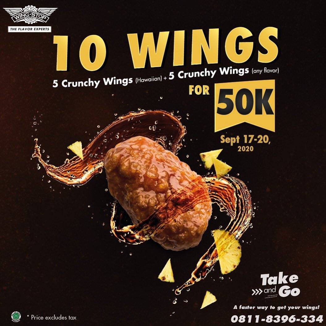 Diskon Promo Wingstop 10 Crunchy Wings Take & Go Only For Rp. 50.000