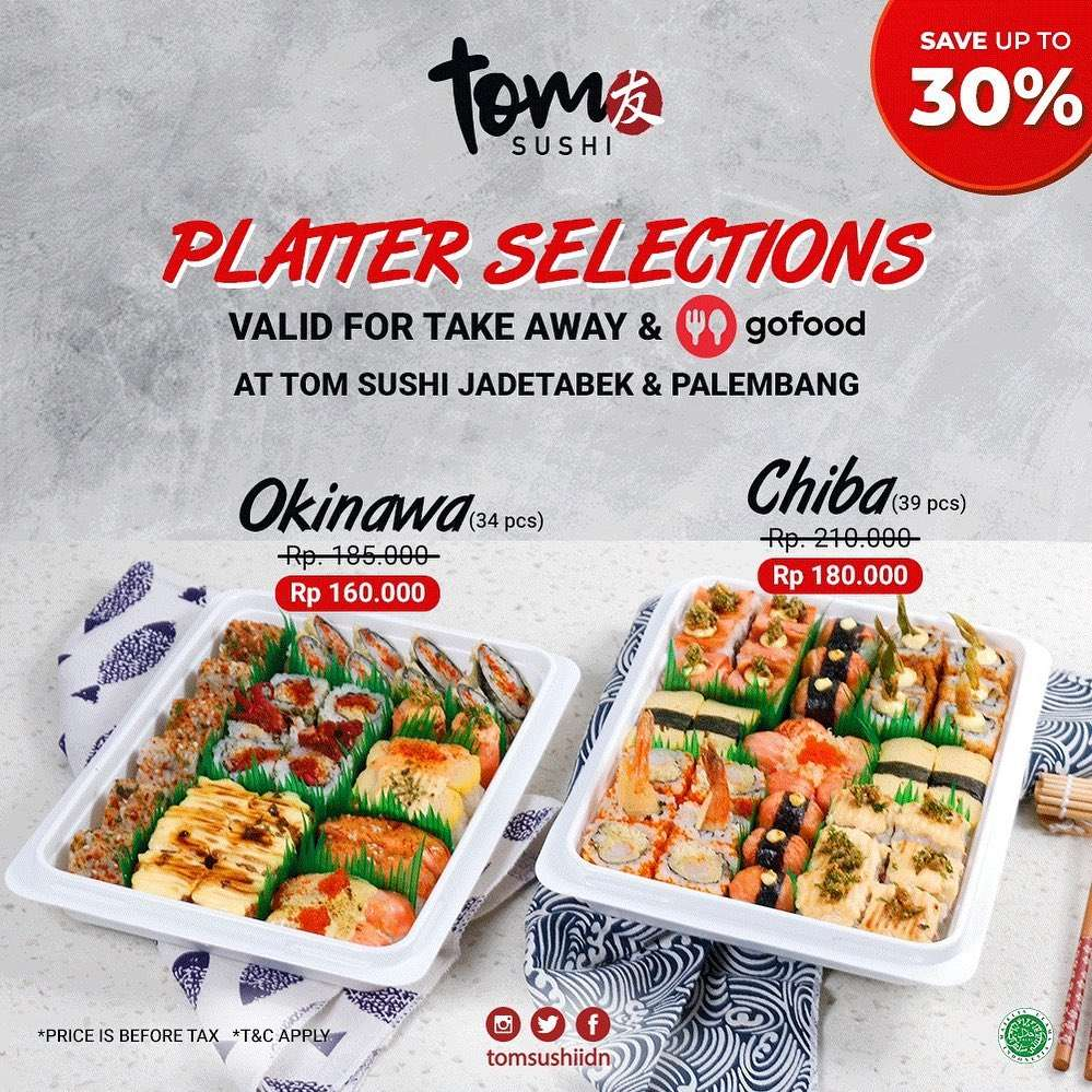 Diskon Tom Sushi Save Up To 30% For Platter Selections On GoFood