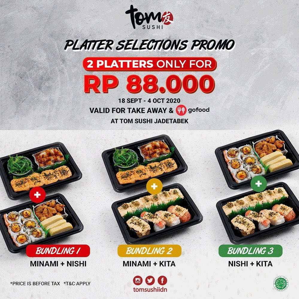 Diskon Tom Sushi Promo 2 Platters Only For Rp. 88.000 On GoFood