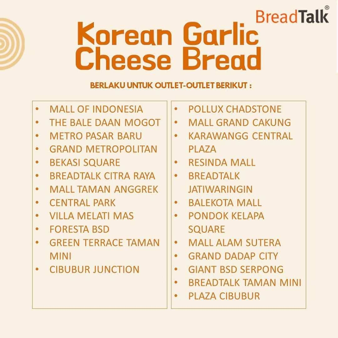 Promo diskon Breadtalk Promo Korean Garlic Cheese Bread