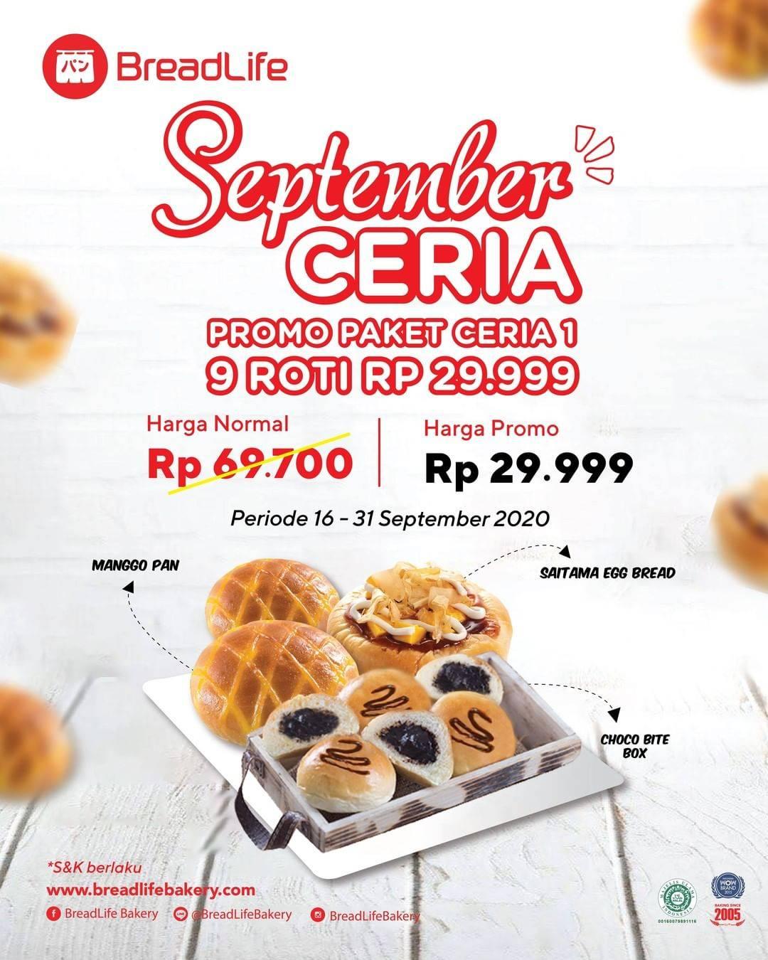 Diskon Breadlife Promo September Ceria - 9 Roti Hanya Rp. 29.999