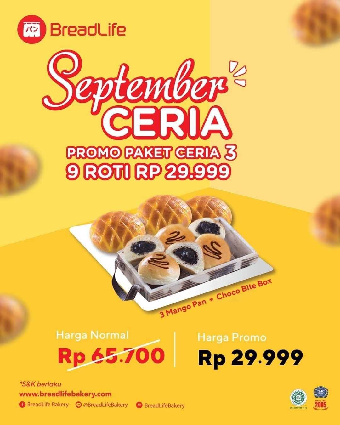 Promo diskon Breadlife Promo September Ceria - 9 Roti Hanya Rp. 29.999